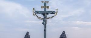 Jesus on the cross statue on Charles Bridge.
